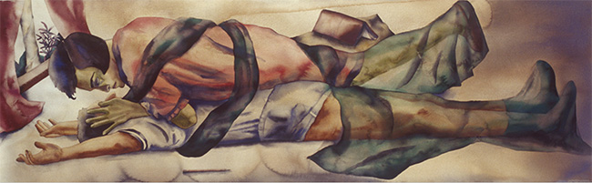 Lovers, 1998 | Watercolour on paper 22 x 70 inches